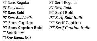 PT Sans | PT Serif