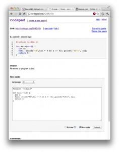 Снимок экрана codepad.org