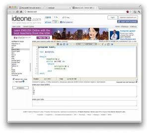 Снимок экрана ideone.com